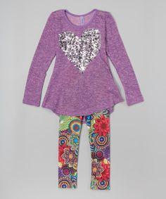 Love this Purple & Silver Heart Tunic & Leggings - Toddler & Girls by Maya Fashion on #zulily! #zulilyfinds