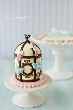 Mini bird cage cake