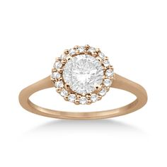 Floating Halo Diamond Engagement Ring Setting 18k Rose Gold (0.20ct)-Allurez.com