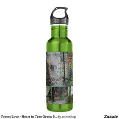 Forest Love - Heart in Tree Green Photo Collage 24oz Water Bottle
