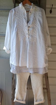 Handstitched White Linen Tuxedo Shirt MegbyDesign
