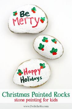 See how easy Christmas painted rocks can be! This fun technique creates fun stone painting projects for kids.  #Christmaspaintedrocks #rockpainting #rockpaintingideas #stonepaiting #easyrockpainting #rockpaintingforkids #christmascrafts #christmascraftsforkids #craftsforkids #christmasrocks #twitchetts