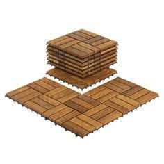 - basement? Bare Decor EZ-Floor Interlocking Flooring Tiles in Solid Teak Wood (Set of 10)