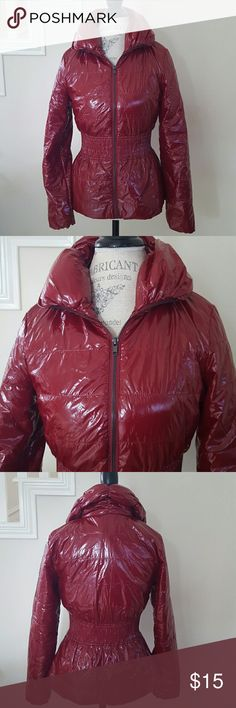 Style Book Crinkly Puffer Crimson red puffer has a wet look.  High collar and cinched waist.  Mannequin is a size 4/6 for reference. Young, Cute, Passionate! Style Book Jackets & Coats Puffers