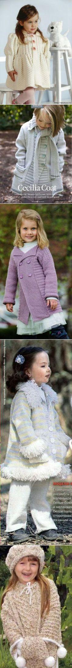 Подборка пальто спицами для самых юных модниц.