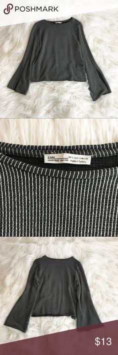 Striped Long Sleeve Zara top Worn once Gray and white striped Slits in sleeves Stretchy material Size small Zara Tops Tees - Long Sleeve