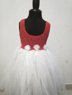 Girls Party Wear, Girls Wear, Girls Tutu Dresses, Flower Girl Dresses, Crochet Tutu Dress, Wear Red, Dress Online, Red Velvet, Crochet Necklace