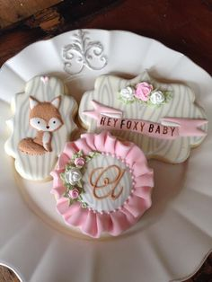 """Sugar Cookies Decorating With Royal Icing Fox, And Saying, """"Hey Foxy Baby!"""""""