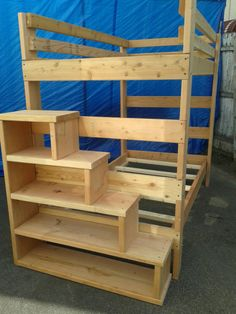 The staircase is built with four easy steps to get to the top with four shelving space. It is made of 1.5x11.5 inches Douglas fur wood. The height of the stairs is 43.5 inches the width is 43.5inches and the depth 11.5 inches.  The maximum weight for this stair case is six hundred pounds .weight capacity.