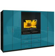 If I had a bigger bedroom: Aventa TV Wardrobe Wall Unit - Free Standing Bedroom TV Unit - Love the color!