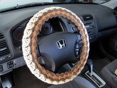 Crochet Steering Wheel Cover Wheel Cozy - oatmeal/warm brown/taupe heather