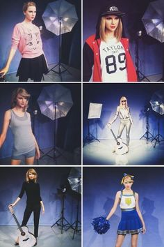 """Taylor Swift """"Shake It Off"""" wax figures in the London Madame Tussaud's Wax Museum! Saw the cheerleader one in London xxx"""