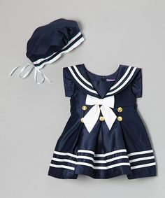 Look what I found on #zulily! Navy & White Stripe Nautical Dress & Beret - Infant by Angels New York #zulilyfinds