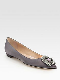 Manolo Blahnik Hangisis Jewel Satin Flats in grey {also available in black, blue, pink, red, white}