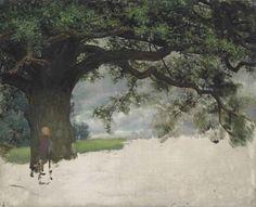 "Lawrence Alma-Tadema. Study of an oak tree. oil. 14¼ x 17½"""