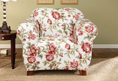 Stretch Olivia One Piece Slipcover: a striking bold floral design on a white-colored background.