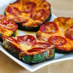 Grilled Zucchini Pizza slices.  Tasty, low-carb and gluten-free alternative to pizza. (kalynskitchen/stumbleupon)