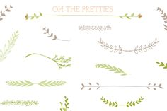These laurel, leaves, and stems clip art and vectors were hand drawn for your use and enjoyment