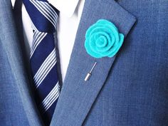 Turquoise flower lapel pin