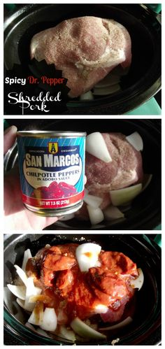 This Spicy Dr.Pepper Shredded Pork is easy to make and has a great kick from Chipotle Peppers in Adobe Sauce. Pulled Pork Recipes, Roast Recipes, Spicy Recipes, Delicious Recipes, Crockpot Recipes, Crock Pot Tacos, Shredded Pork, Chicken Stuffed Peppers