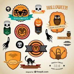 Etiquetas vintage para Halloween.
