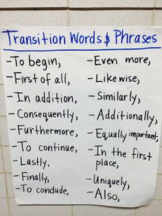 Transitions to use in expository writing and writing about reading responses.