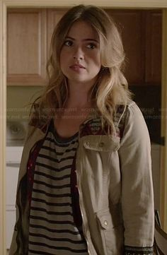 Malia's striped top and embroidered jacket on Teen Wolf.  Outfit Details: http://wornontv.net/36791/ #TeenWolf
