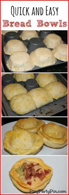 make quick bread bowls by baking refrigerated biscuit or crescent roll dough over back of muffin tin pan