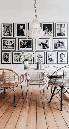 Dining Room Design – Iconic Retro Portraits Dining Room Dining Room Decor how to decorate large dining room wall Dining Room Wall Decor, Dining Room Lighting, Dining Room Design, Interior Design Living Room, Design Room, Dining Room Picture Wall, Living Room Artwork, Living Rooms, Family Rooms