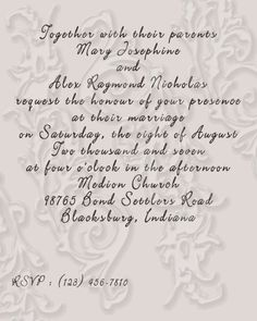 Possible Wedding Invitation Wording