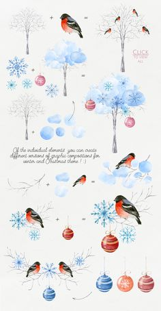 Christmas Crafts.Watercolor DIY Pack - Illustrations - 4