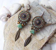 Bead Embroidery Earrings, Mandala Earrings, Boho Beaded Earrings, Blue Bronze Seed Bead Earrings, Sister Wedding Gift, Woman Jewelry Gift