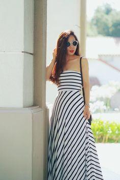 Bebe Striped Maxi Dress_0