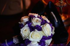 #white and #purple wedding bouquets   #weddingbouquet #bridalbouquet #flower #weddingflower #weddinginspiration #roses #strass