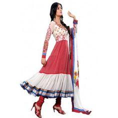 Shop Now - http://www.valehri.com/pink-white-designer-long-salwar-kameez-with-dupatta-471