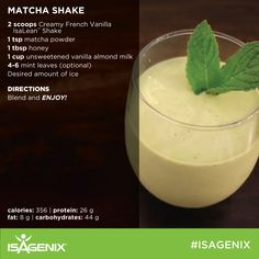 A delicious twists to the classic Isagenix Isalean French Vanilla Shake! Protein Powder Recipes, Protein Shake Recipes, Smoothie Recipes, Snack Recipes, Smoothies, Protein Shakes, Whey Recipes, Healthy Shakes, Protein Ball