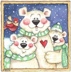 Penguins and friends - Laurie Furnell - puntoceleste - Picasa Web Albums Christmas Drawing, Christmas Art, Vintage Christmas, Christmas Ornaments, Christmas Teddy Bear, Christmas Animals, Christmas Pictures, Christmas Graphics, Christmas Clipart