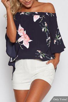Random Floral Print Off Shoulder Blouse