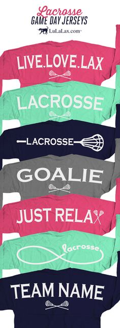 "Our lacrosse game day jersey shirts are super comfy for those chilly summer nights! Show the world how much you love your sport with these adorable lacrosse shirts. They make the perfect gift for any lax girl! Popular designs include Live Love Lax, Just Relax, and our classic ""Lacrosse"" word. Show your Goalie status with our goalie shirt or add make a custom shirt by adding your team name! Did we mention that the front can be personalized with your monogram? :) Only at LuLaLax.com"