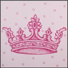Wall Art By Theme Popular Artwork for Girls Pink Crown Inspired Square Canvas at PoshTots Tatto Love, Love Tattoos, New Tattoos, Tattoos For Women, Heart Tattoos, Girly Tattoos, Skull Tattoos, Compass Tattoo, Hand Painted Canvas