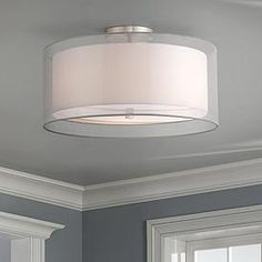 With elegantly layered sheer and white shades, this flushmount ceiling light offers a delicate contemporary style. wide x high. Canopy is wide x high. Outer shade is wide x 4 high. Inner shade is wide x 4 high. Style # at Lamps Plus. Drum Ceiling Lights, Semi Flush Ceiling Lights, White Ceiling, Flush Mount Ceiling, Ceiling Light Fixtures, Ceiling Fans, Ceiling Light Design, Interior Lighting, Lamp Light