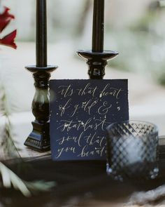 This gold ink and black handmade paper pairing still makes my knees weak. So swoon worthy 🥰 . Calligraphy Envelope, Wedding Calligraphy, Wedding Stationery, Name Cards, Thank You Cards, Wedding Favors, Wedding Day, Bar Menu, Tent Cards
