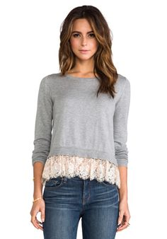 Alice by Temperley Odille Frill Jumper in Grey Mix | REVOLVE