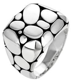 John Hardy Men's Kali Silver Rectangular Ring RB2351