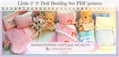 "PDF Pattern Ribbonwood Cottage Little Doll Bed and Bedding 2""-3"" Doll size (Calico Critters style doll) instant Download"