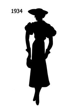 1930 to 1940 Free Black Silhouettes in Costume History - Fashion History, Costume Trends and Eras, Trends Victorians - Haute Couture Black Silhouette, Silhouette Design, Vector Design, Design Art, Free Black, Black And White, Wood Burning Tool, Black Costume, Scrapbook Templates