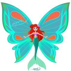 Ariel [as a mermaid butterfly] (Drawing by ApicolloDraws Disney Fan Art, Disney S, Disney Love, Disney Magic, Disney Dream, Butterfly Drawing, Butterfly Fairy, Disney Princess Ariel, Disney Princesses