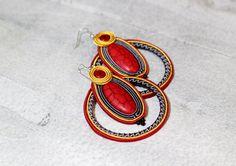Colorful Soutache Hoop Earrings Red Hoop by HeriniasJewelryChest
