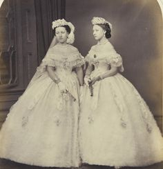 Princesses Helena and Louise as bridesmaids at Princess Alice's wedding.  This is one of the best pictures I've seen of Helena.