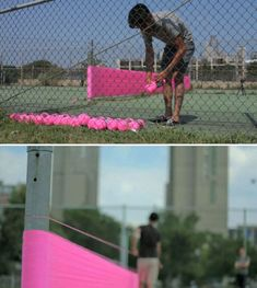 HOT+TEA, also known as Eric Rieger, is an American street artist who uses vibrant yarn as his medium of choice.  This piece is called Lost+Found. HOT+TEA spotted a vacant Minneapolis tennis court with no net for the locals to use (a lost space). He decided to create a net using nothing but neon yarn so the court could be returned to its original purpose (found).  Picture found at plentyofcolour.com